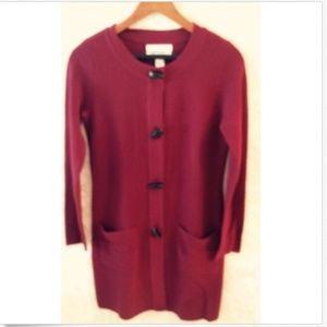 Ellen Tracy Maroon Red Wool Blend Cardigan SZ S